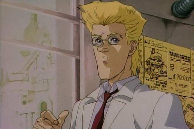 Daisuke Ido, a cyber-surgeon by day and hunter-warrior by night, looks out the window of his office with a concerned expression on his face.