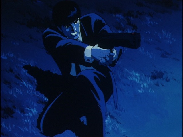 """This is probably the only """"safe for work"""" image in there runtime of Wicked City: Taki Renzaburo preparing to fire his enormous handgun."""
